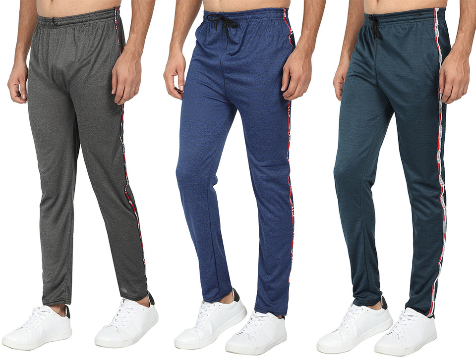 Men's Blue  ,Brown & Grey Track Pants -Pack of 3