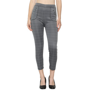 Women's Brown,Navy Blue & Grey Check Solid Pants-Pack of 3