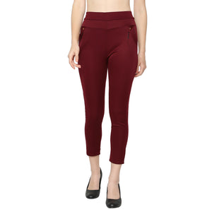 Women's Red,Grey & Brown  Solid Pants-Pack of 3