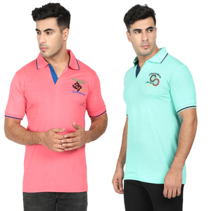 Orange & Cyan  Cotton Polo Collar Half Sleeve T-Shirt-Pack of 2