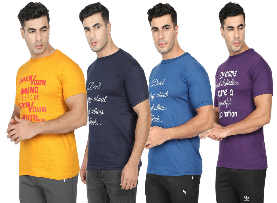 Round Neck  T-Shirt-Yellow,Blue ,Navy Blue ,Purple -Pack Of 4