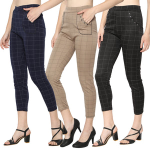 Women's Navy Blue, Black & Brown Check Solid Pants-Pack of 3
