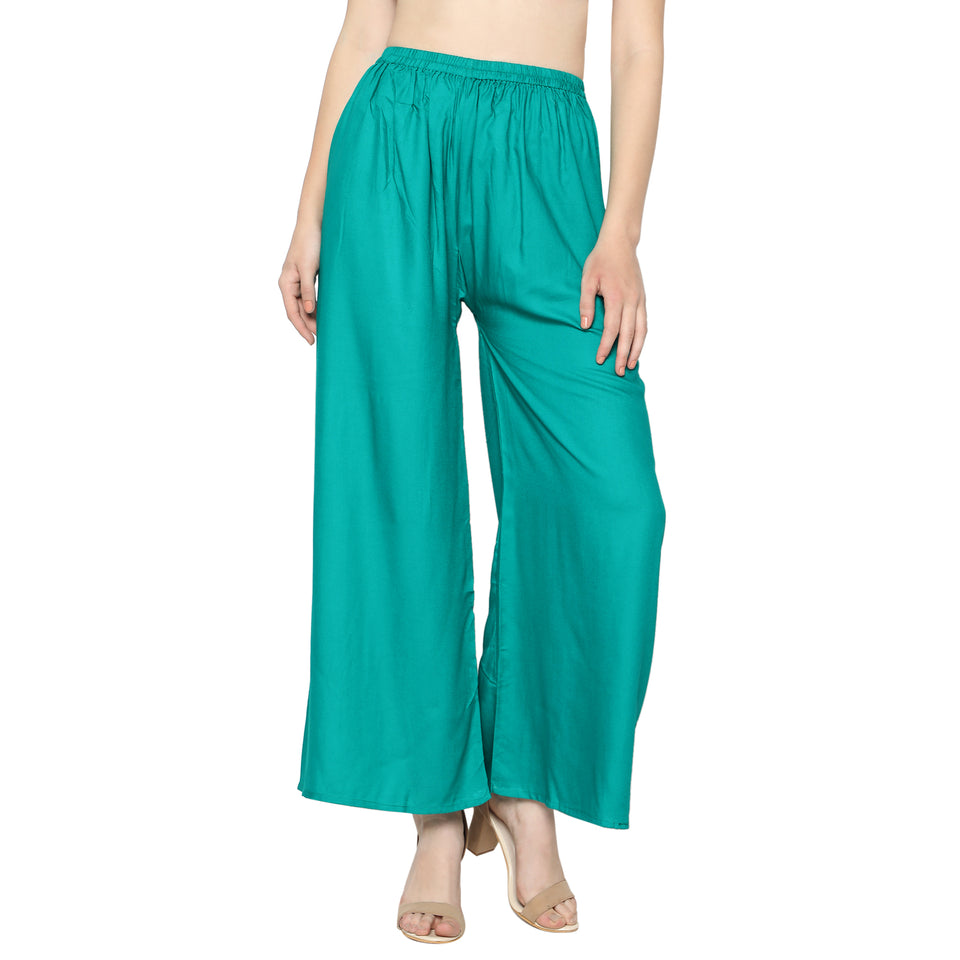 Women's/Girls Soft Rayon Plain Palazzo with Elastic Waistband Pack-2_ (Cyan,Skin)