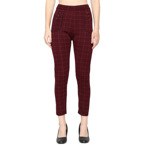 Women's Navy Blue  & Red Check Solid Pants-Pack of 2