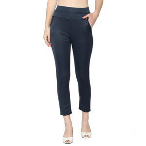 Women's Navy Blue & Black  Solid Pants-Pack Of 2