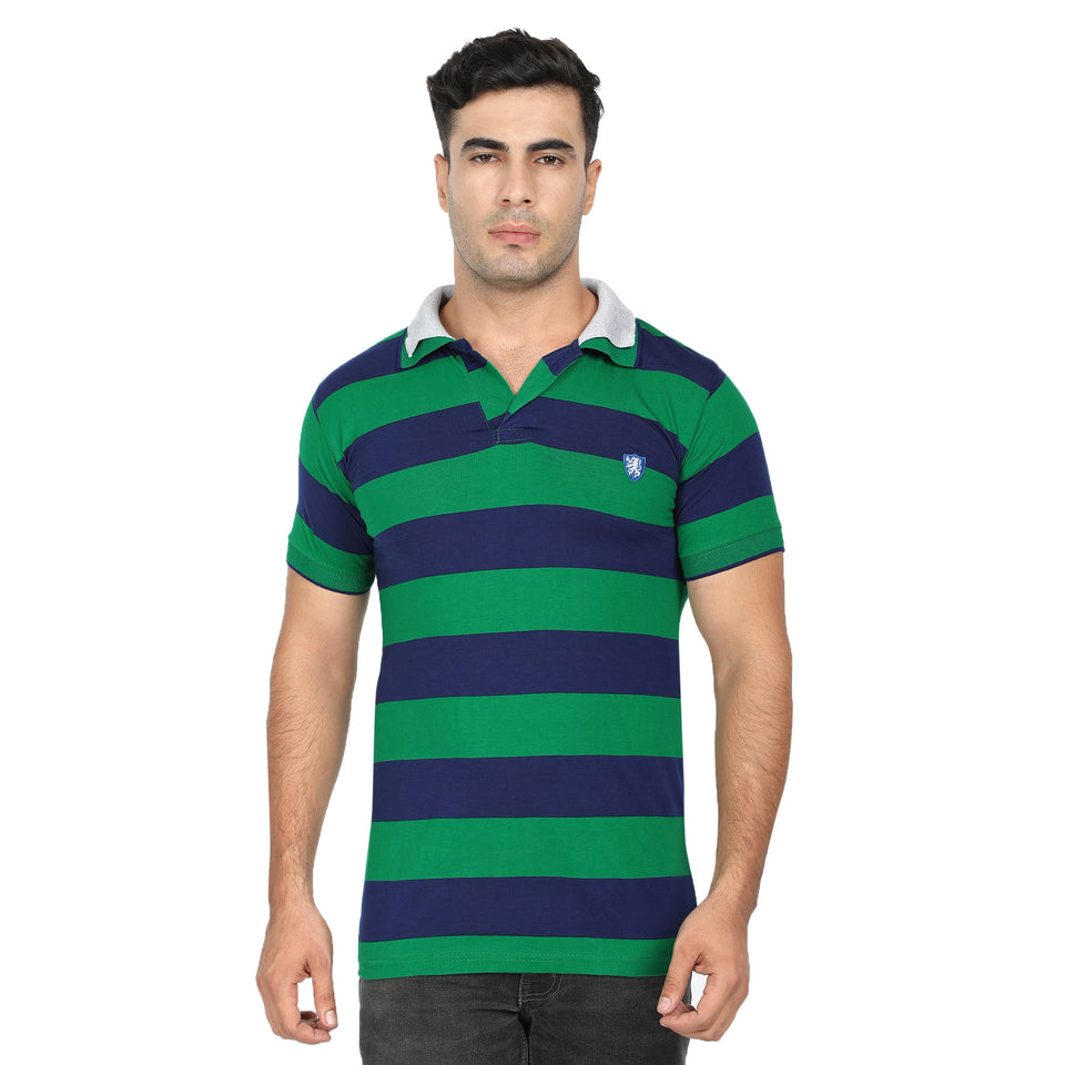 Green, Cyan & Green Stripe  Cotton Polo Collar Half Sleeve T-Shirt-Pack of 3