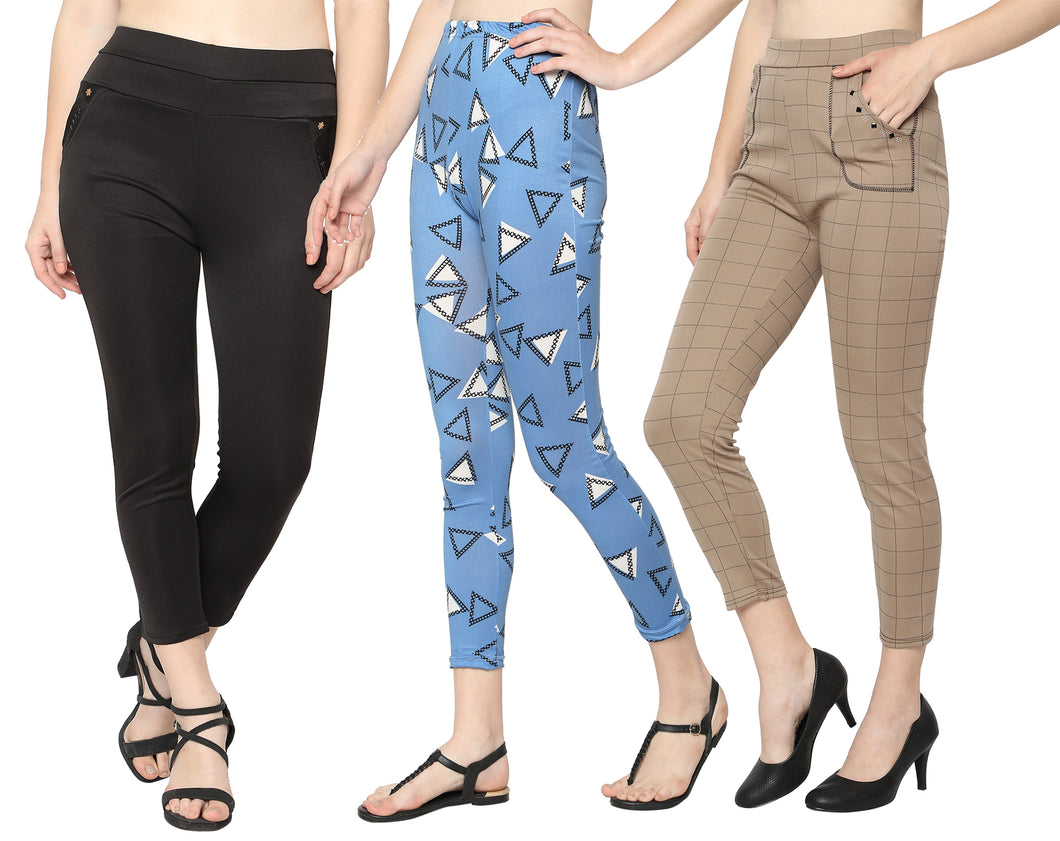 Black Pant, Blue Leggings & Brown Check Pants- Pack of 3