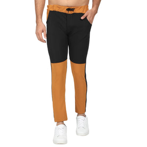 Firozi  and Yellow Black Designer Men's Track Pants-Pack of 2