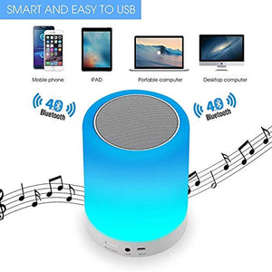 LED Touch Lamp Portable Bluetooth Speaker, Wireless HiFi Speaker Light, USB Rechargeable Portable with TWS