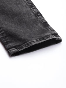Black Slim Fit Mid-Rise Mildly Distressed Stretchable Jeans