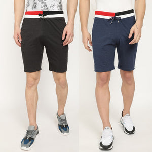 Blackish Grey  & Blue Men's Casual Shorts-Pack of 2
