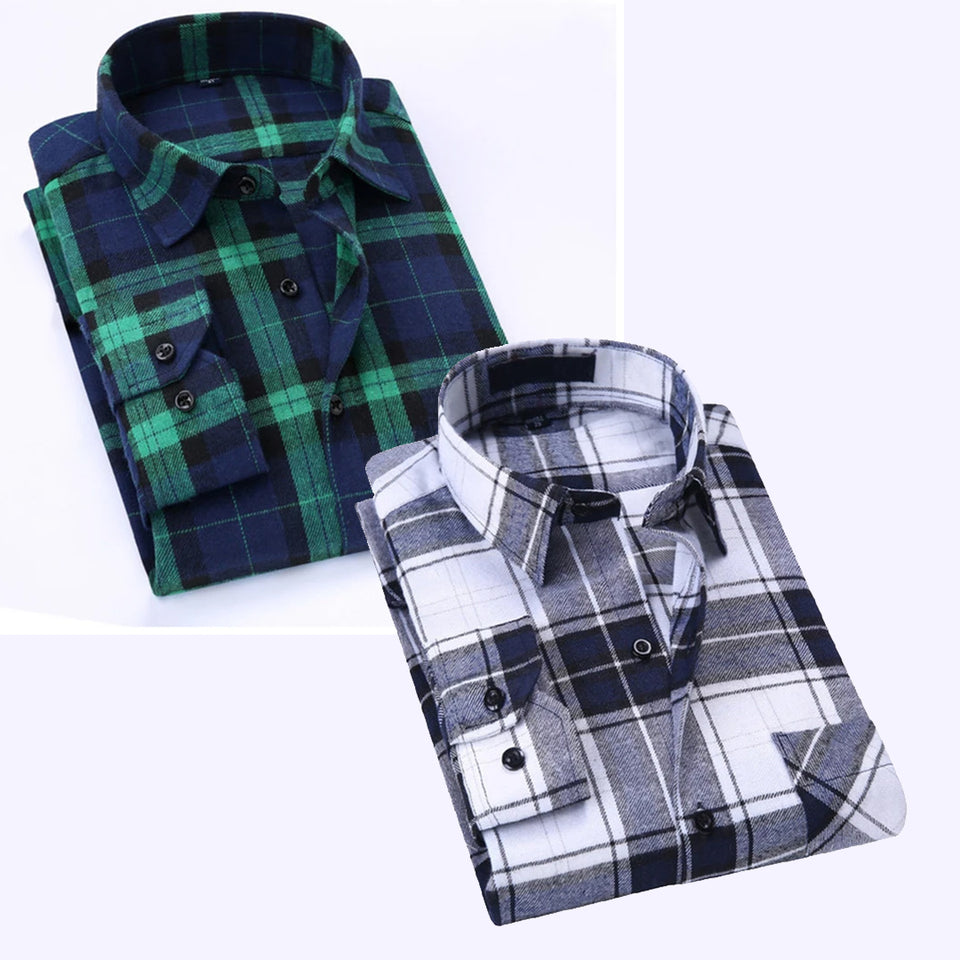 Combo of 2 Cotton Full Sleeve Check Shirts for Men