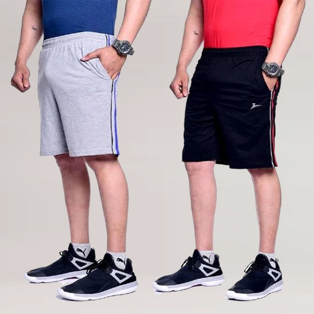 Men's Grey & Navy Blue Combo Short's (Pack of 2)