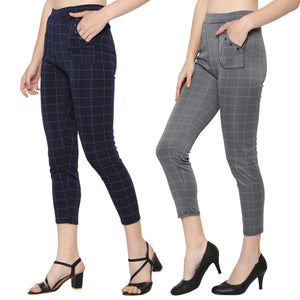 Women's Navy Blue & Grey Check Solid Pants-Pack Of 2