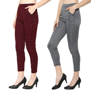 Women's Grey & Red Check Solid Pants-Pack of 2
