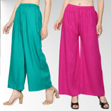 Women's/Girls Soft Rayon Plain Palazzo with Elastic Waistband Pack-2_ (Rani,Cyan)