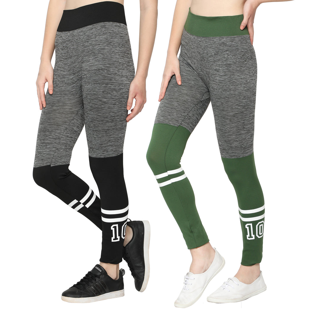 Women Black & Green  Designer Solid Skinny Fit Jeggings-Pack of 2