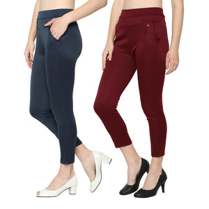 Women's Navy Blue  & Red  Solid Pants-Pack Of 2