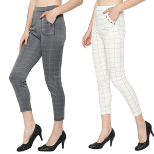 Women's White & Grey Check Solid Pants-Pack Of 2