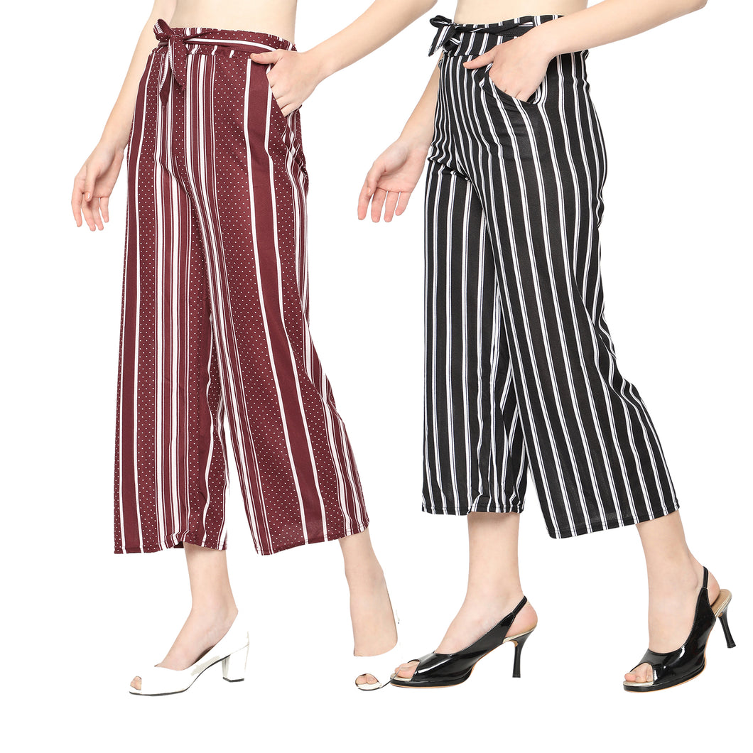 Women's/Girls Black Lining & Maroon Dotted Palazzo-Pack of 2