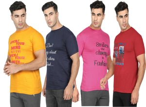 Round Neck  T-Shirt-Yellow,Pink ,Navy Blue ,Red -Pack Of 4