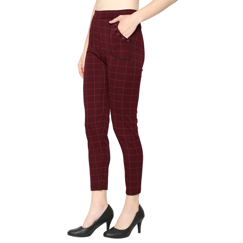 Women's Red, Black & Brown Check Solid Pants-Pack of 3