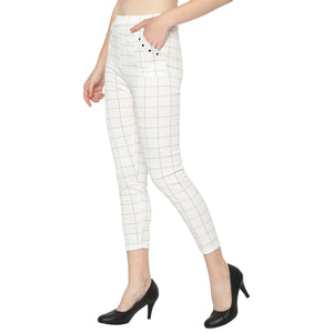 Women's Brown, White & Grey Check Solid Pants-Pack of 3