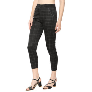 Women's Black & Grey Check Solid Pants-Pack of 2