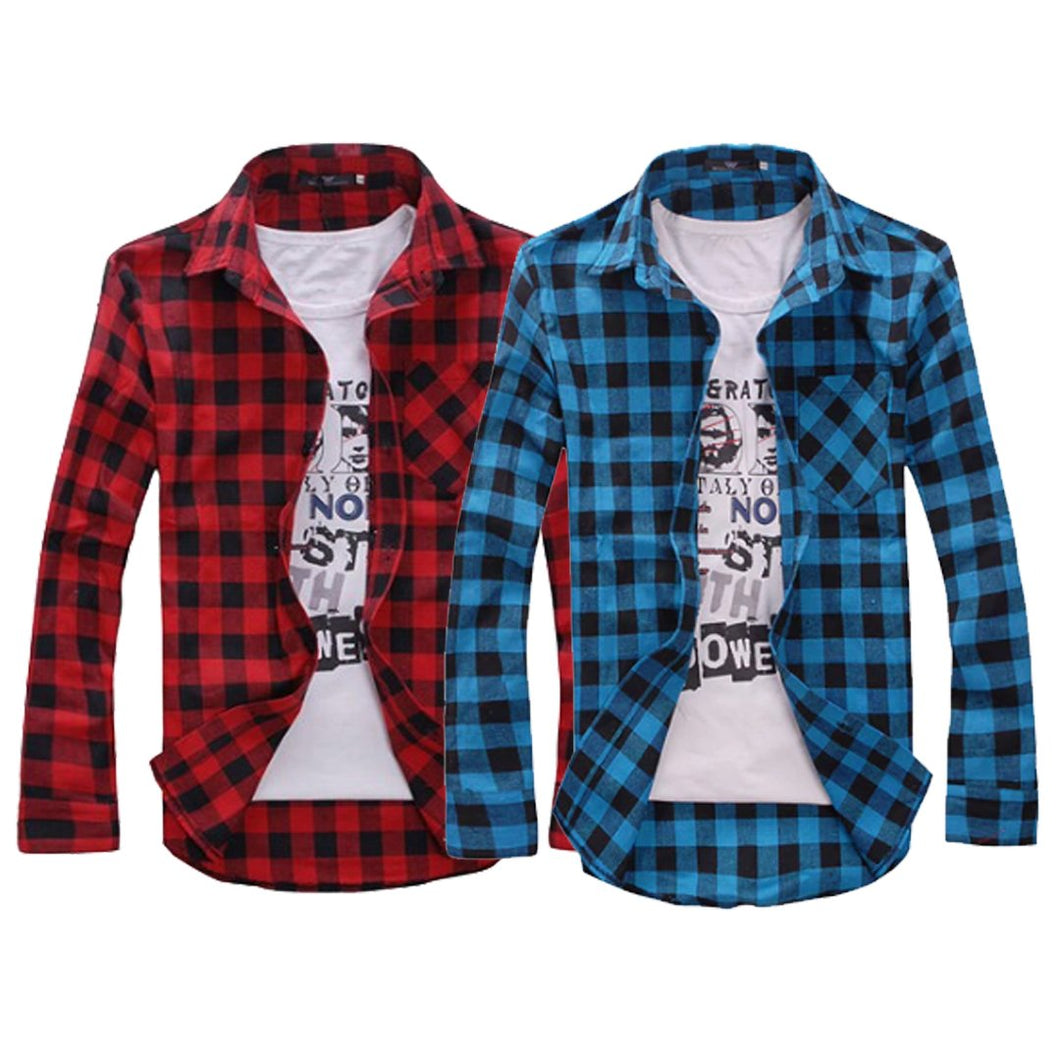 Cotton Full Sleeve Check Shirt for Men - Red-blue-Pack of 2