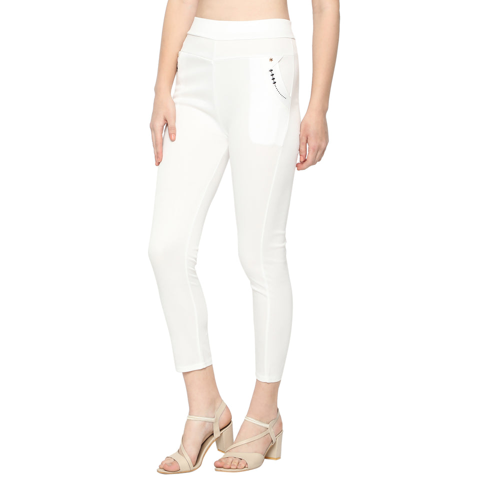 Women's Black ,White & Grey Solid Pants-Pack of 3