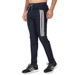 Men's Orange Black , Red Black Designer ,Navy Blue Stripe Track Pants -Pack of 3