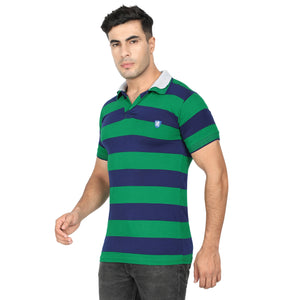 Green Stripe & Cyan Cotton Polo Collar Half Sleeve T-Shirt-Pack of 2