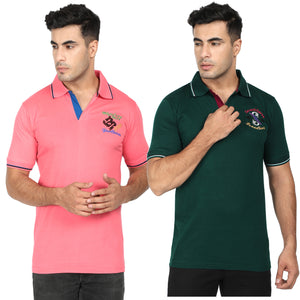 Green & Orange Cotton Polo Collar Half Sleeve T-Shirt-Pack of 2