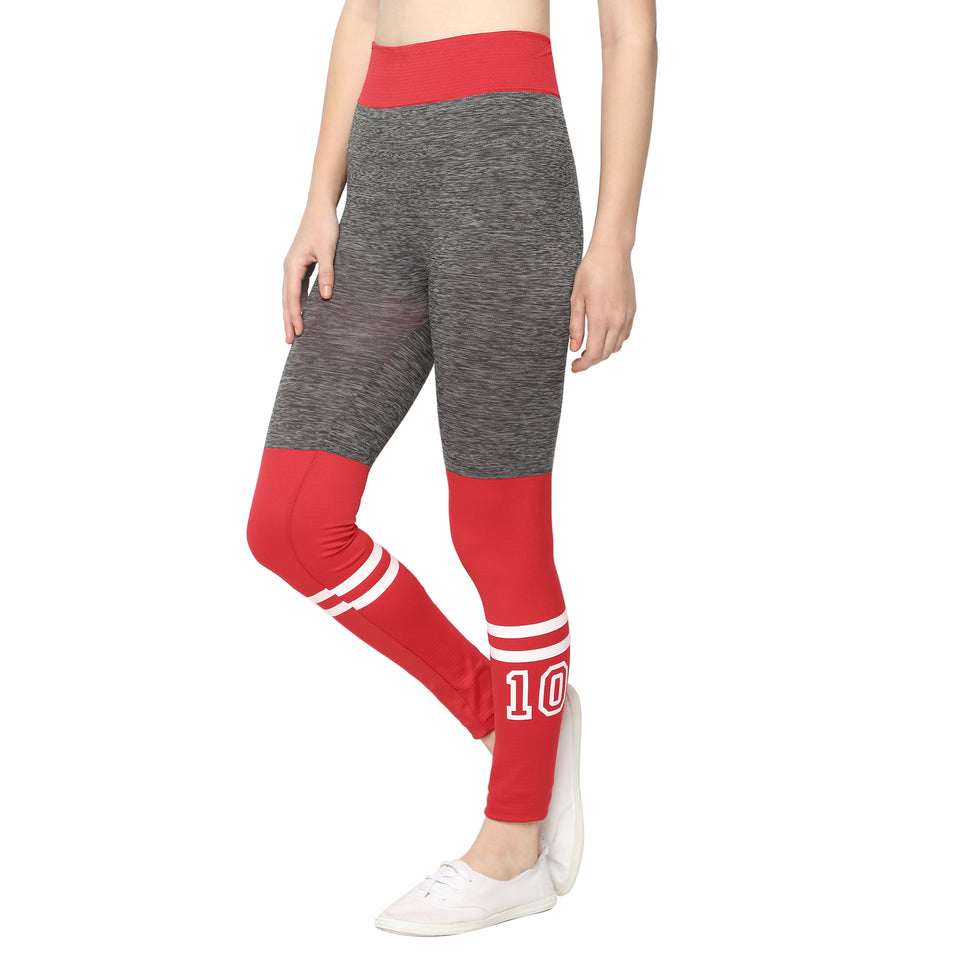 Red Printed Leggings , Red Jeggings & Navy Blue Check Pants-Pack of 3