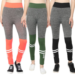 Orange, Green & Black Designer Solid Skinny Fit Jeggings-Pack of 3