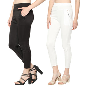 Women's White & Black  Solid Pants-Pack Of 2
