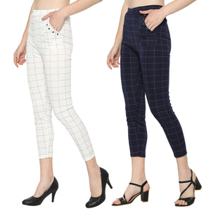 Women's Navy Blue & White Check Solid Pants-Pack Of 2
