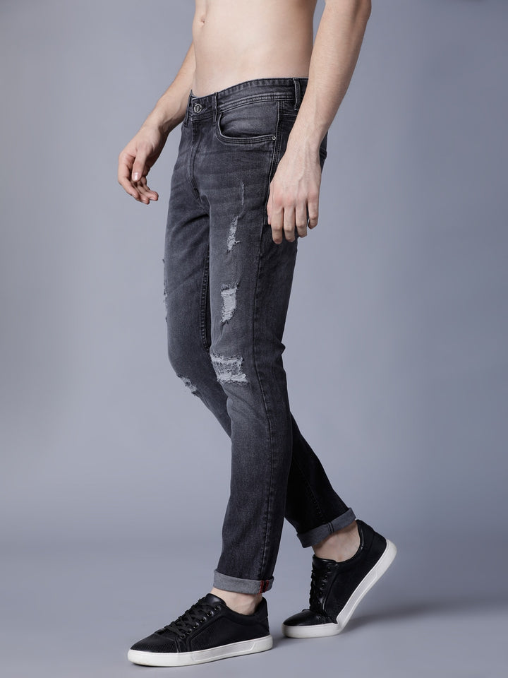 Men Black Slim Fit Mid-Rise Highly Distressed Stretchable Jeans