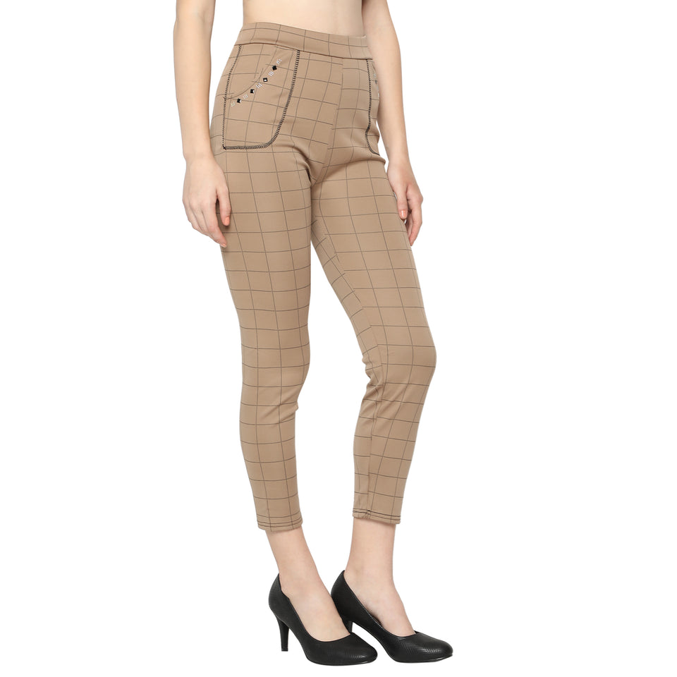 Women's Black & Brown Check Solid Pants-Pack of 2