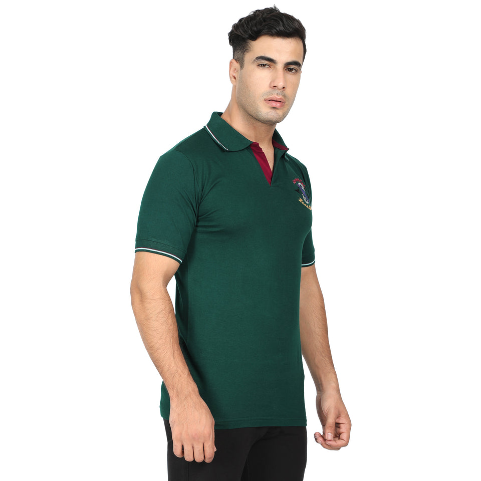 Green Stripe & Green Cotton Polo Collar Half Sleeve T-Shirt-Pack of 2