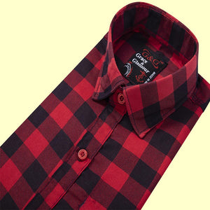Cotton  Casual Single Shirt for boys- Red-black check