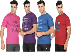 Round Neck T-Shirt-Pink,Purple, Blue ,Red -Pack Of 4