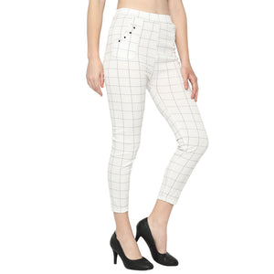 Women's Navy Blue,White & Red Check Solid Pants-Pack of 3