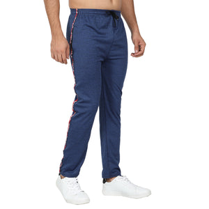 Men Royal Blue & Navy Blue Stripe Yellow  Solid Slim-Fit Joggers (pack of 2)