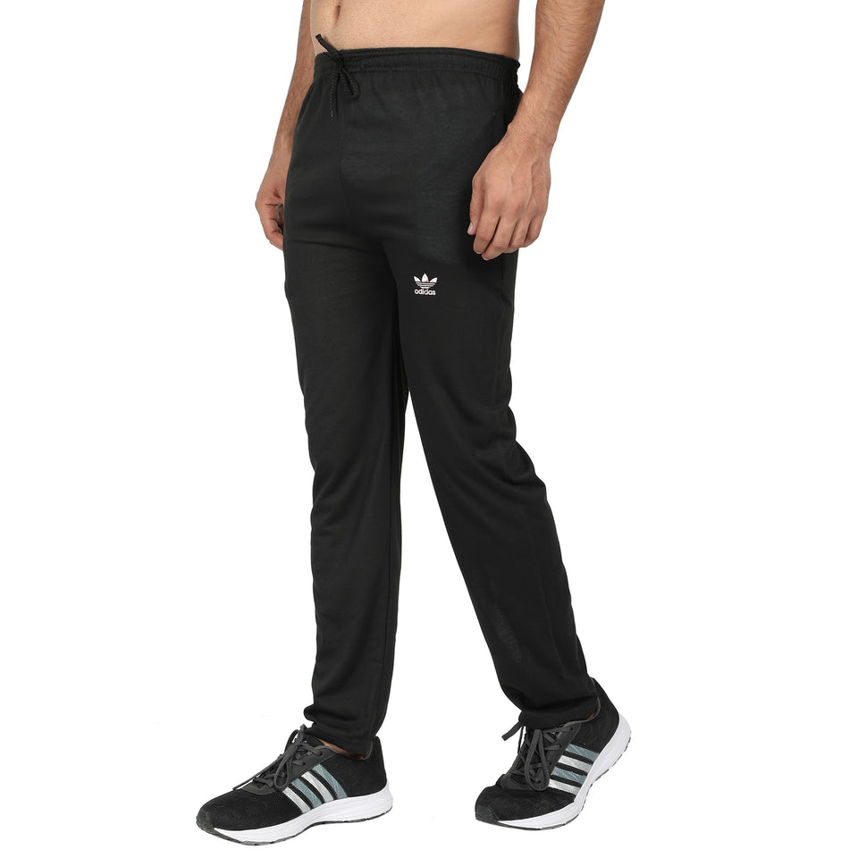 Men Black & Black Yellow Designer Solid Slim-Fit Joggers (pack of 2)