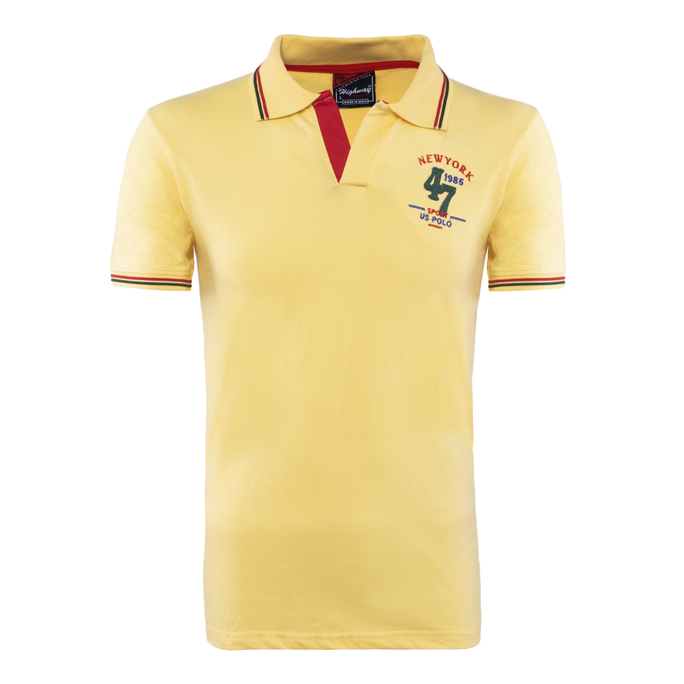 Cotton Polo Collar Half Sleeve T-Shirt Yellow-Red-Black for Men(Combo of 3)