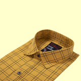 Cotton Full Sleeve Casual Single Shirt-Yellow Line