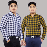 Combo of 2 Cotton Full Sleeve Check Shirts for Men White-Yellow Check