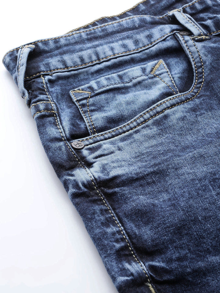 Blue Slim Fit Mid-Rise Slash Knee Stretchable Jeans