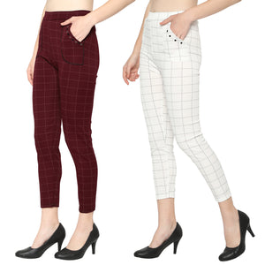 Women's White & Red Check Solid Pants-Pack Of 2